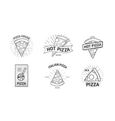 set of monochrome logotypes with pizza slices and vector image