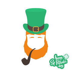 silhouette of irishman head with ginger beard hat vector image