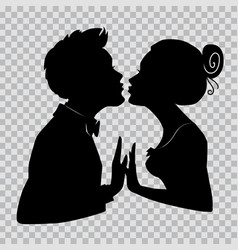 Silhouettes of loving couple lovers kissing vector