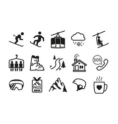 ski resort icons vector image