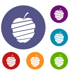 Sliced apple icons set vector