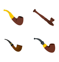 smoking pipe icon set flat style vector image