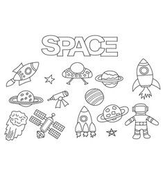 space elements hand drawn set vector image