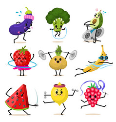 sports fruit characters set cute healthy vector image