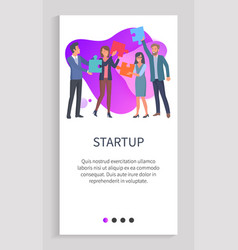 startup people with puzzles teamwork website app vector image