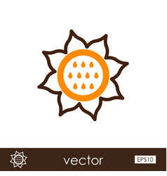 Sunflower outline icon vegetable vector