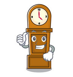 thumbs up grandfather clock character cartoon vector image
