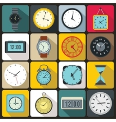 Time and Clock icons set vector image