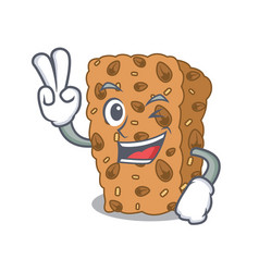 Two finger granola bar character cartoon vector