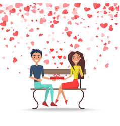 valentine couple with present on bench vector image