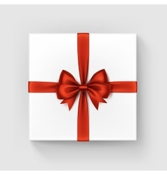 White Square Gift Box with Red Bow and Ribbon vector