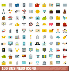 100 business icons set flat style vector image vector image