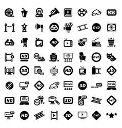 Big movie icon set vector