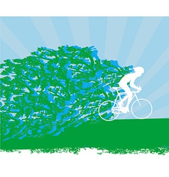 cyclist abstract silhouette card vector image vector image