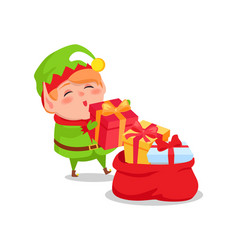 elf santa s helper put christmas presents red sack vector image