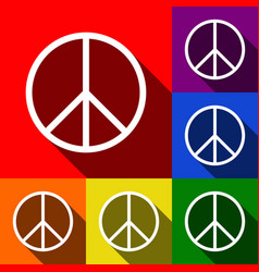 peace sign set of icons with vector image