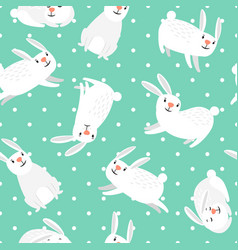 white bunny easter seamless pattern vector image vector image