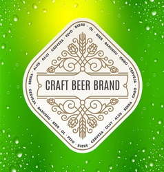 Beer label with flourishes emblem vector