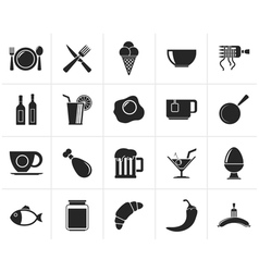 Black Food drink and restaurant icons vector image