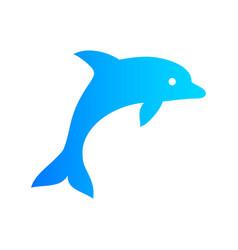 blue color dolphin icon vector image