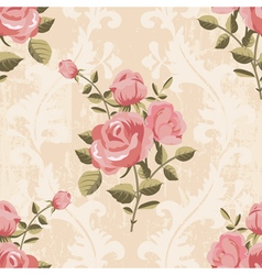 Classic rose pattern seamless wallpaper vector image vector image