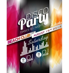 Disco Party Flyer Design on abstract background vector image vector image