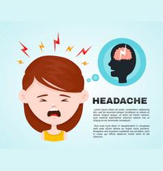 flat women with a headache vector image