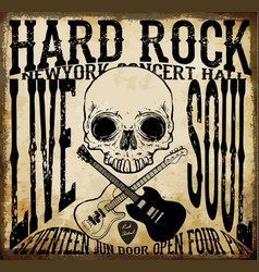hard rock acoustic guitar icon vector image