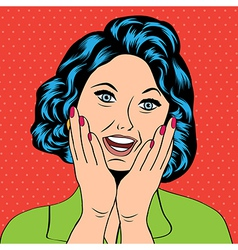 Pop Art of a laughing woman vector image