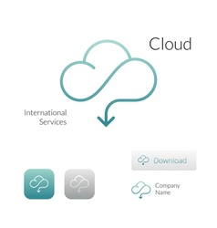 Cloud stylish logo icon and button concept vector image vector image
