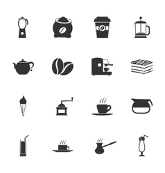 Coffe black and white flat icons set vector image vector image