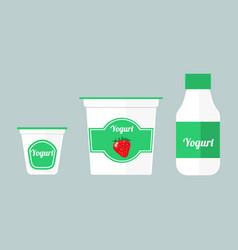 colorful of packaging yogurt vector image