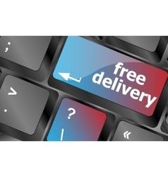 Free delivery key on laptop keyboard keys vector