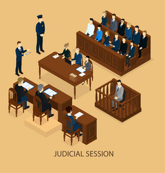 isometric court session template vector image