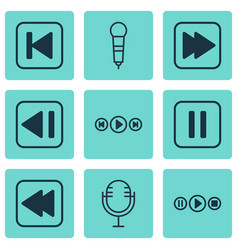 set of 9 music icons includes rewind back audio vector image vector image