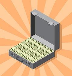 Suitcase of money wads of dollars isometric style vector image