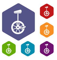 unicycle icons set vector image
