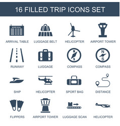 16 trip icons vector
