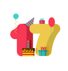17 year birthday sign 17th template greeting card vector image