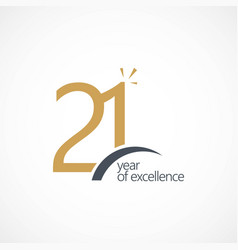21 year excellence template design vector image