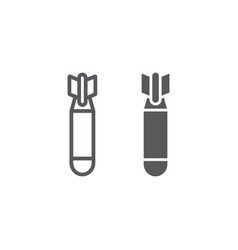 air bomb line and glyph icon weapon and military vector image
