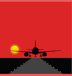 Airplane landing on the runway with bulbs vector
