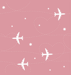 airplane path seamless pattern vector image