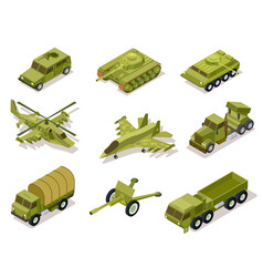 armor weapon collection helicopter and cannon vector image