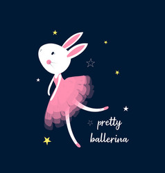 Ballerina bunny for t-shirt vector