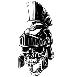 black and white human skull in roman helmet vector image