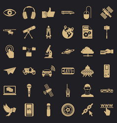 broadcasting technology icons set simple style vector image