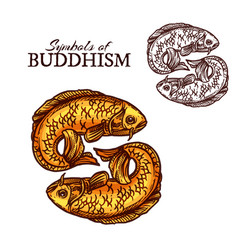 Buddhism religion symbols golden carp fish vector