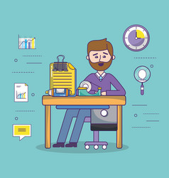 Business office employee workspace cartoon vector