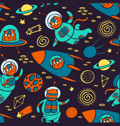 cat space pattern cute traveling animal background vector image